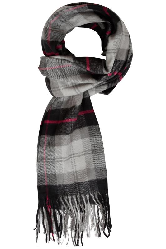 Hats, Gloves & Scarves BadRhino Charcoal Grey Check Scarf 101943