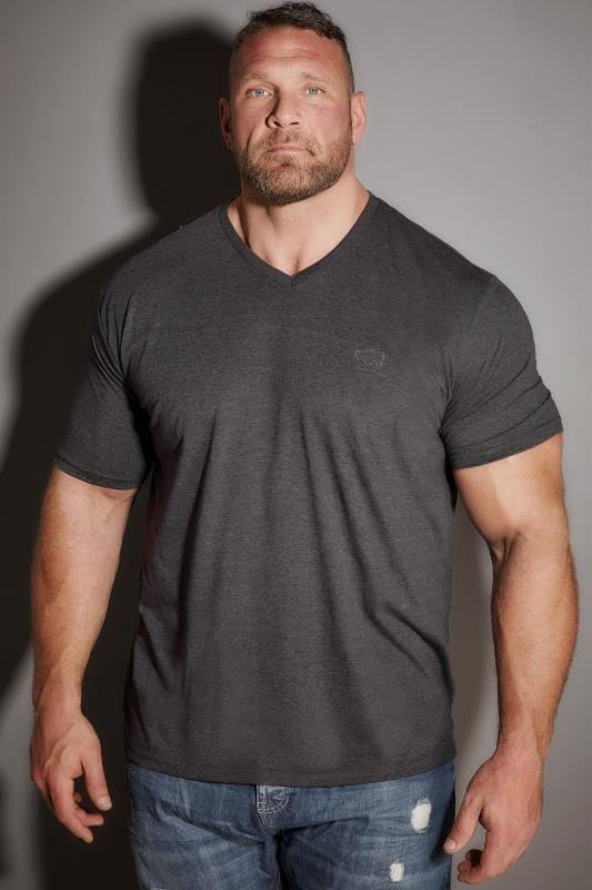 T-Shirts BadRhino Charcoal Grey V-Neck Basic T-Shirt 200279