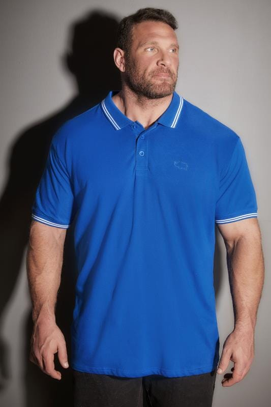 BadRhino Cobalt Blue Textured Tipped Polo Shirt