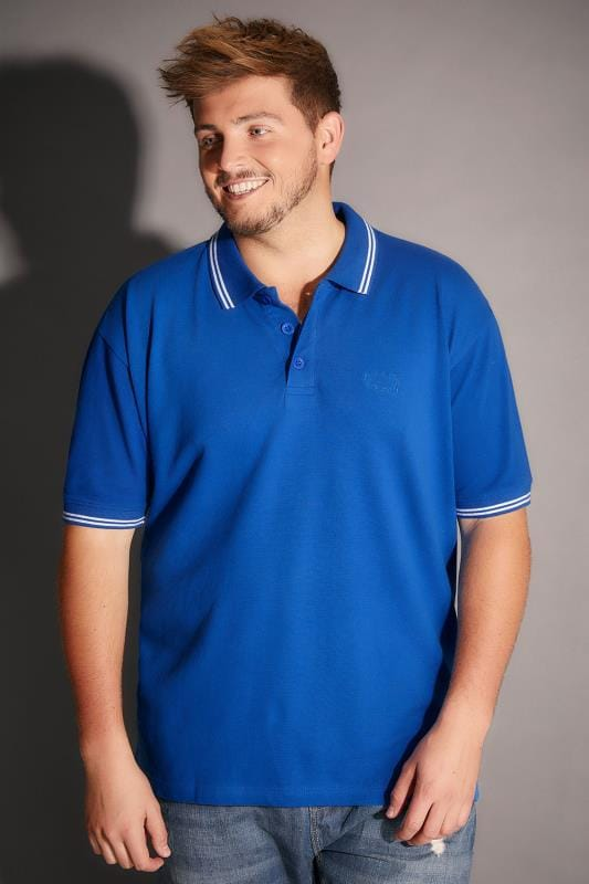 BadRhino Cobalt Blue Polo Shirt With White Stripe Detail