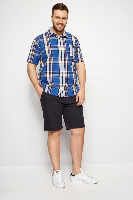 Casual Shirts BadRhino Dark Blue Check Short Sleeve Shirt 200899
