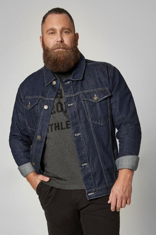 BadRhino Dark Blue Denim Jacket With Pockets & Button Front