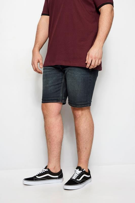 BadRhino Dark Blue Washed Denim Shorts