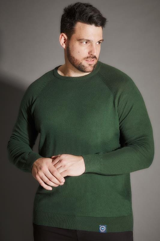 BadRhino Dark Green Premium Slub Cotton Jumper With Crew Neck