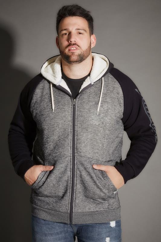 BadRhino Dark Grey & Black Sherpa Lined Zip Through Hoodie