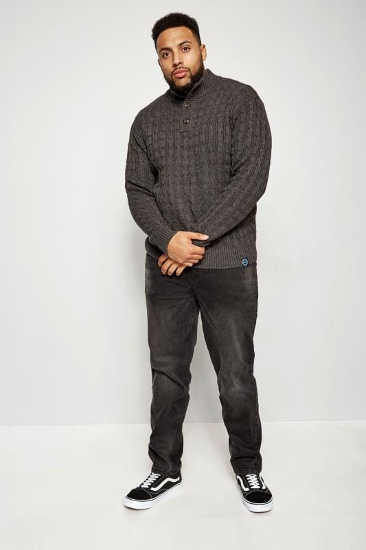 BadRhino Dark Grey Cable Knit Jumper