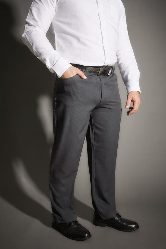 BadRhino Dark Grey Smart Straight Leg Stretch Trousers With 5 Pockets