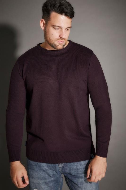 BadRhino Dark Purple Crew Neck Fine Knit Jumper