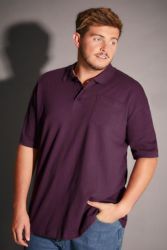 Polo Shirts BadRhino Dark Purple Plain Polo Shirt With Chest Pocket 055119