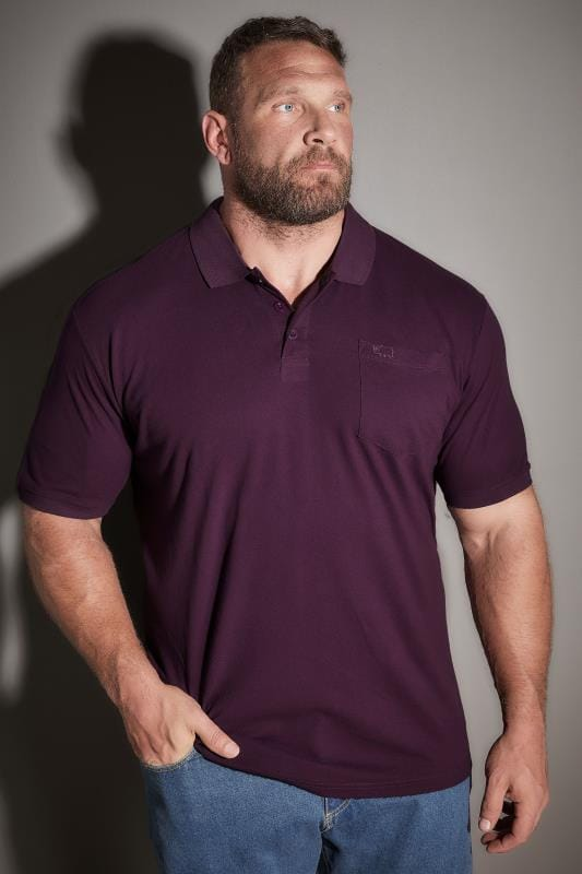 BadRhino Dark Purple Plain Polo Shirt With Chest Pocket