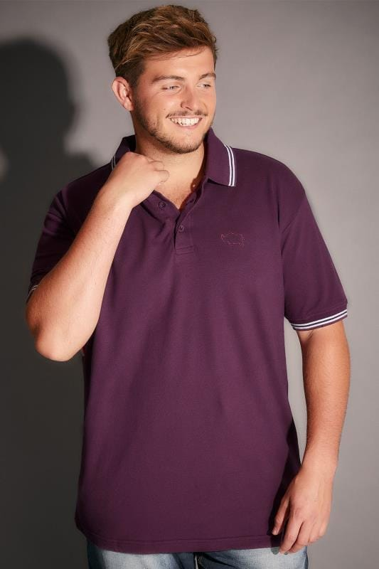 BadRhino Dark Purple Polo Shirt With White Stripe Detail