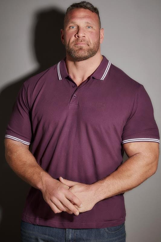 Polo Shirts BadRhino Dark Purple Polo Shirt With White Stripe Detail 055126