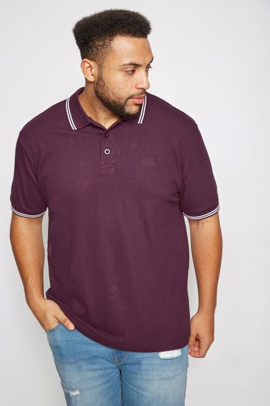 Polo Shirts BadRhino Dark Purple Textured Tipped Polo Shirt 055126