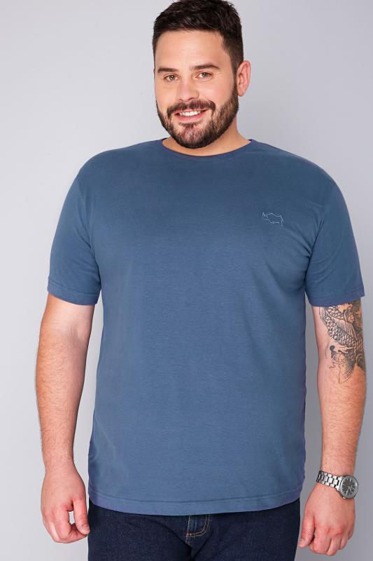 BadRhino Denim Blue Basic Plain Crew Neck T-Shirt