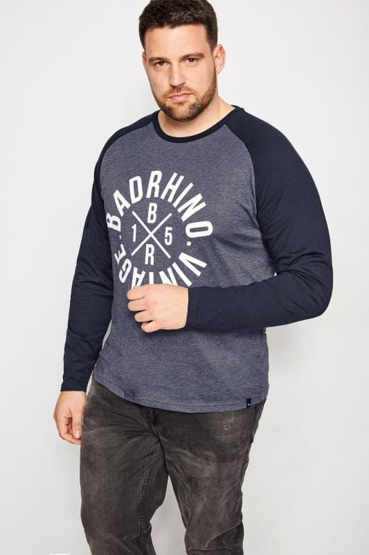 BadRhino Denim Blue Long Sleeve T-Shirt With Logo