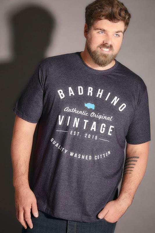 BadRhino Denim Blue Marl Crew Neck Vintage Logo T-Shirt - TALL