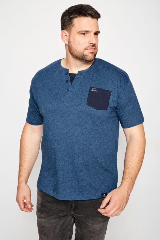 BadRhino Denim Blue Notch Neck T-Shirt