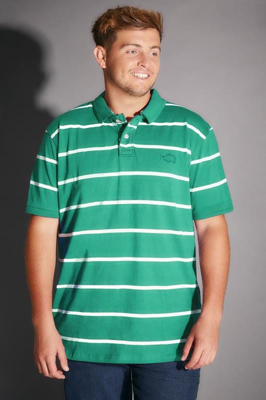 BadRhino Emerald Green Wide Stripe Polo Shirt - TALL