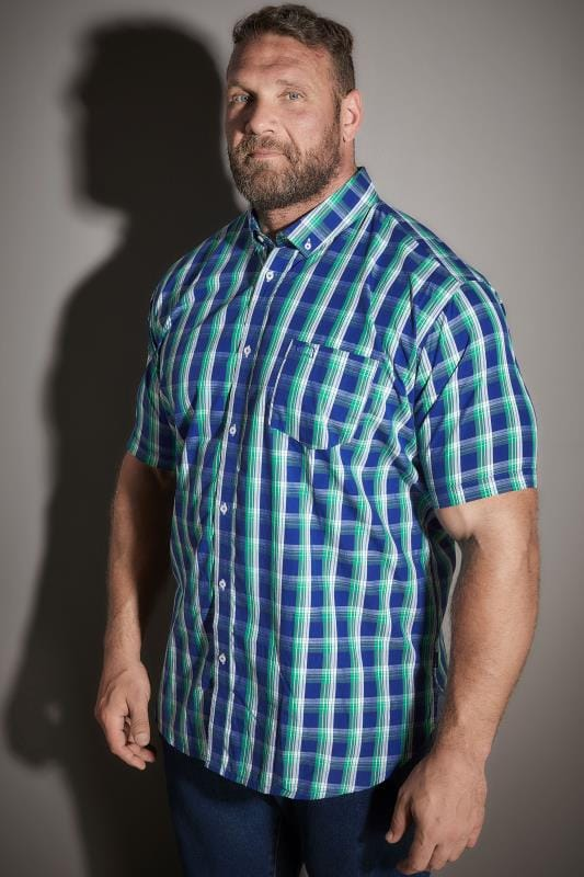 Casual Shirts BadRhino Green & Blue Large Large Grid Check Short Sleeve Shirt 200169