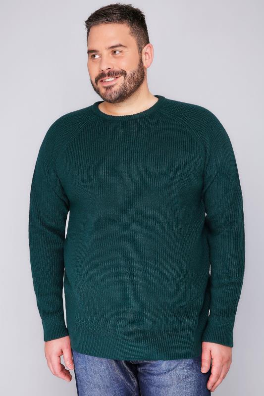 BadRhino Green Crew Neck Rib Chunky Knit Jumper