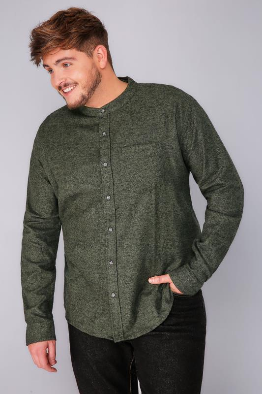 BadRhino Green Grandad Brushed Cotton Shirt