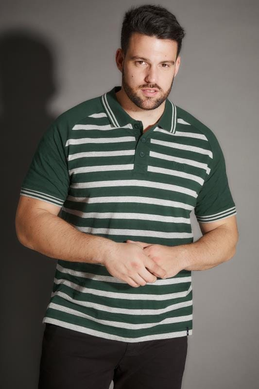 BadRhino Green Premium Slub Jersey Striped Polo Shirt