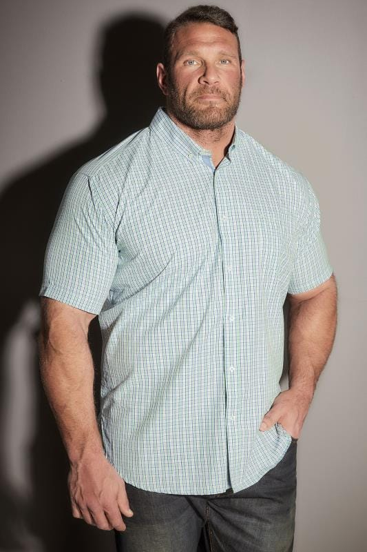 BadRhino Green & White Small Grid Check Short Sleeve Shirt