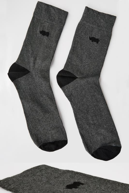 Socks BadRhino Grey Socks With Black Contrast Heel & Toe 200369