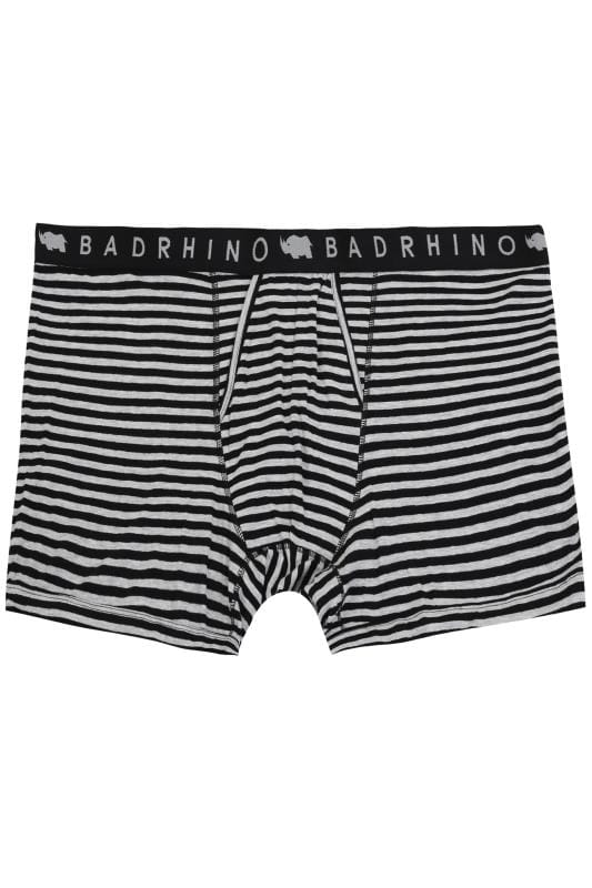 Boxers And Briefs BadRhino Grey & Black Stripe A Front Boxers 200462