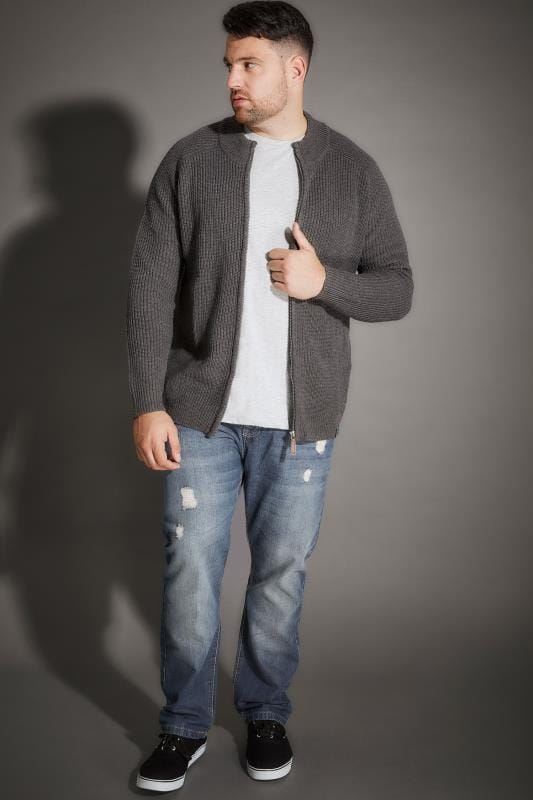 BadRhino Grey Rib Knit Sweater With Funnel Neck