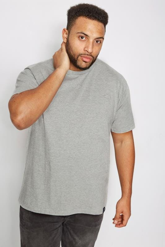 T-Shirts BadRhino Grey Crew Neck Basic T-Shirt 110274