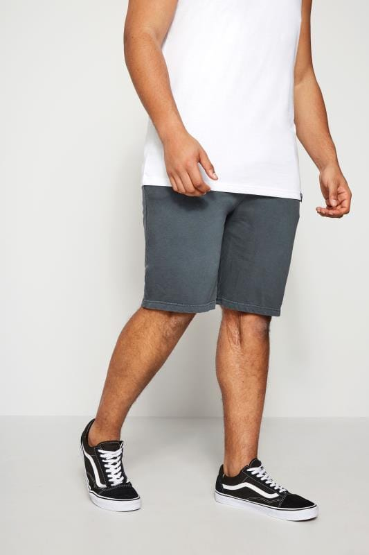Jogger Shorts BadRhino Grey Jersey Shorts With Pockets & Logo Detail 200163