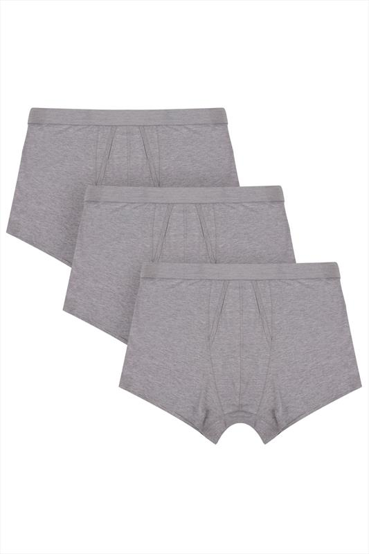 3 PACK BadRhino Grey Marl A Front Boxer Trunks