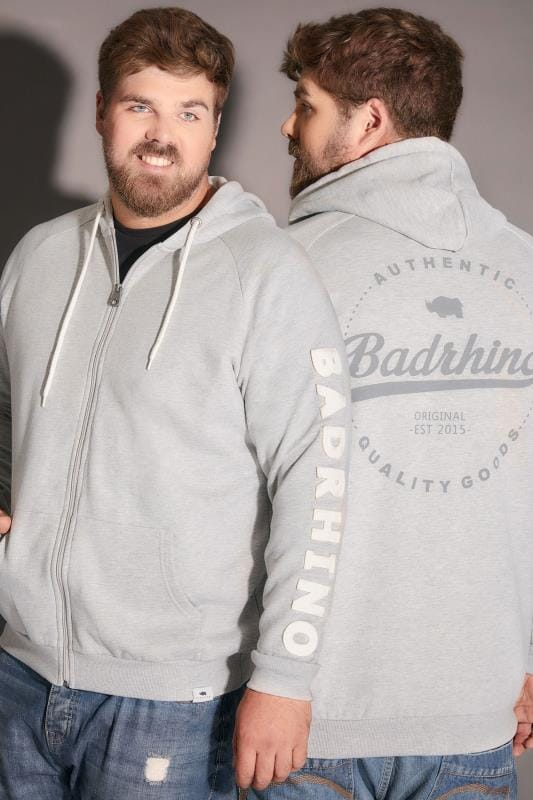 Hoodies BadRhino Grey Marl Applique Logo Detail Zip Through Hoodie 200206