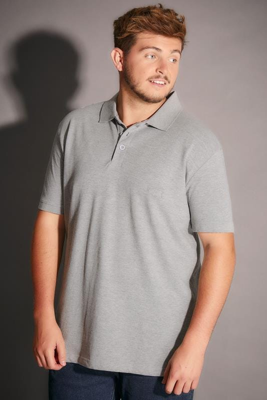BadRhino Grey Marl Basic Polo Shirt - TALL