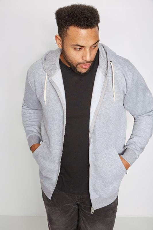 Hoodies BadRhino Grey Marl Basic Sweat Hoodie With Pockets 110119
