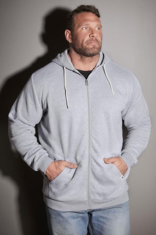 BadRhino Grey Marl Basic Sweat Hoodie With Pockets