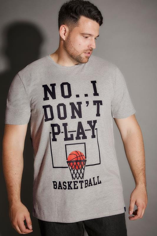 BadRhino Grey Marl Basketball Slogan Print T-Shirt - TALL