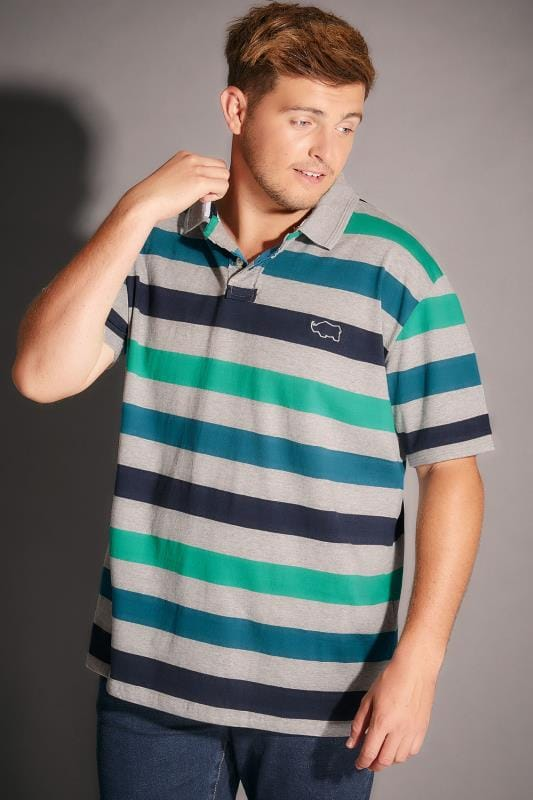 BadRhino Grey Marl, Blue & Green Block Stripe Polo Shirt - TALL