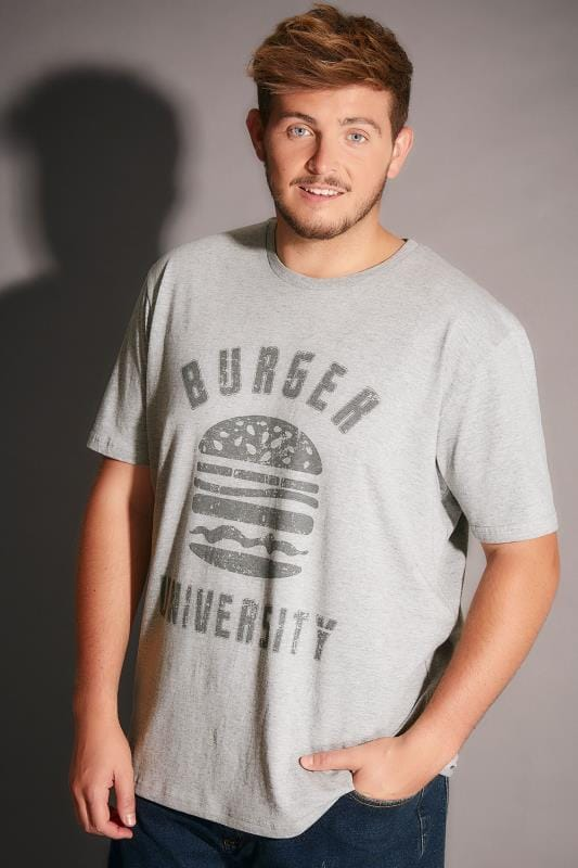 BadRhino Grey Marl Burger University Slogan T-Shirt