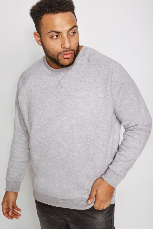 Hoodies BadRhino Grey Marl Crew Neck Raglan Basic Sweatshirt 200190