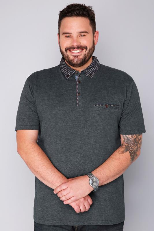 BadRhino Grey Marl & Navy Paisley Print Collar Polo Shirt