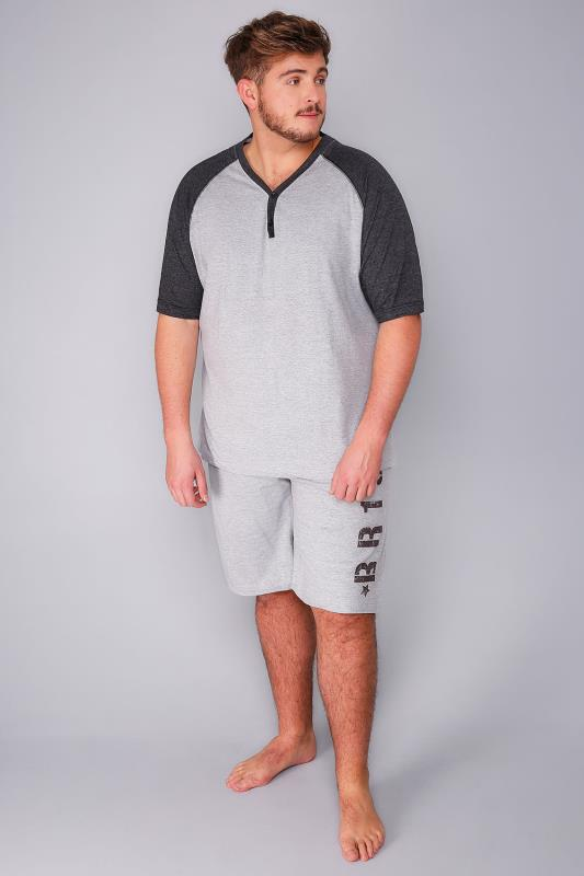 BadRhino Grey Marl Raglan T-Shirt and Shorts Loungewear Set