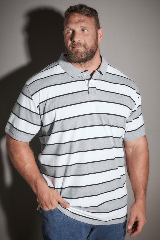 BadRhino Grey Marl & White Stripe Polo Shirt - TALL