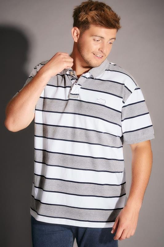 BadRhino Grey Marl & White Stripe Polo Shirt