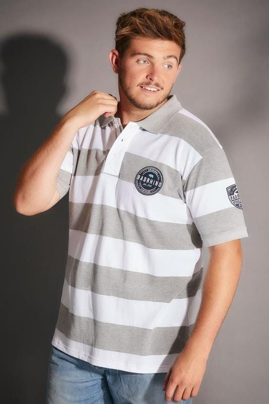 BadRhino Grey Marl & White Stripe Polo Shirt With Badges - TALL