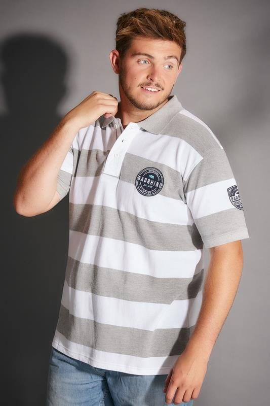 Polo Shirts BadRhino Grey Marl & White Stripe Polo Shirt With Badges 200128
