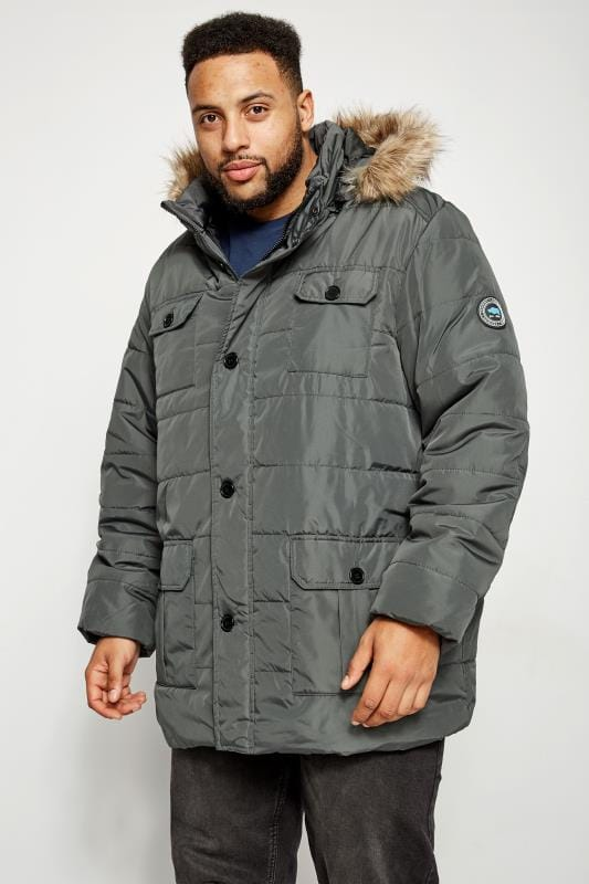 b1458a568c25 BadRhino Grey Padded Parka Coat