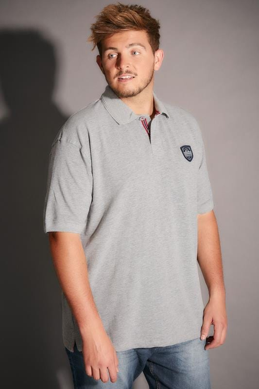 BadRhino Grey Polo With Chest Badge