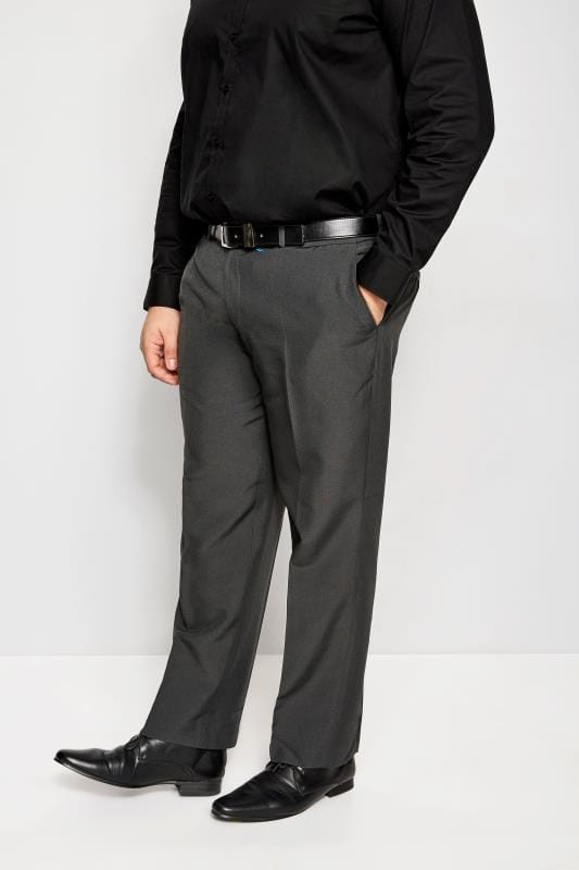 BadRhino Grey Single Pleat Smart Trousers